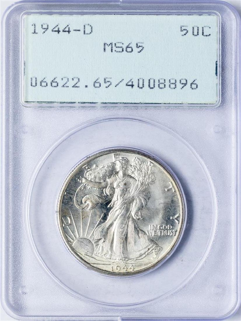 1944-D Walking Liberty Half Dollar Coin PCGS MS65 Old