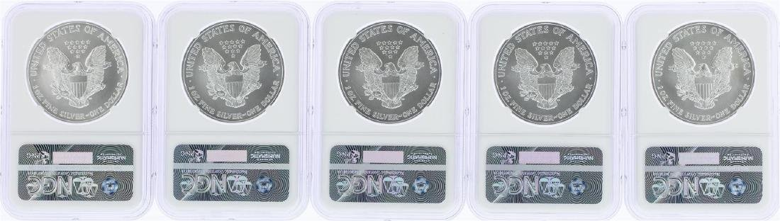 Lot of (5) 2005 $1 American Silver Eagle Coins NGC MS69 - 2
