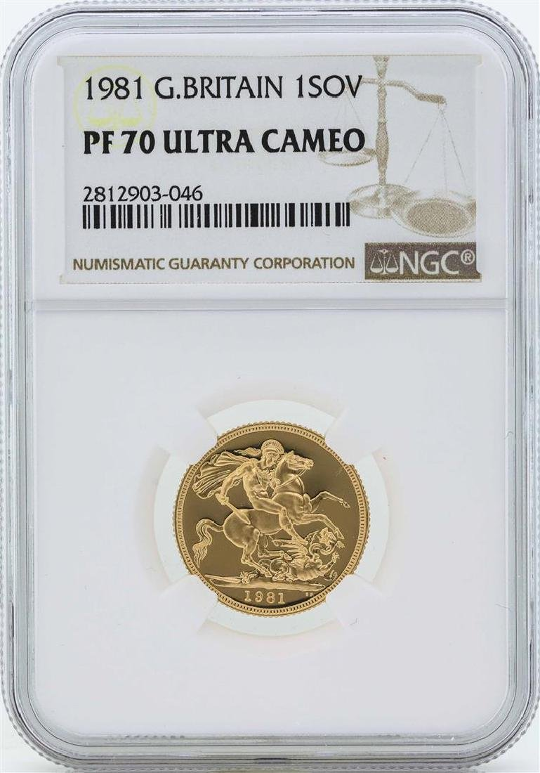1981 Great Britain Sovereign Gold Coin NGC PF70 Ultra