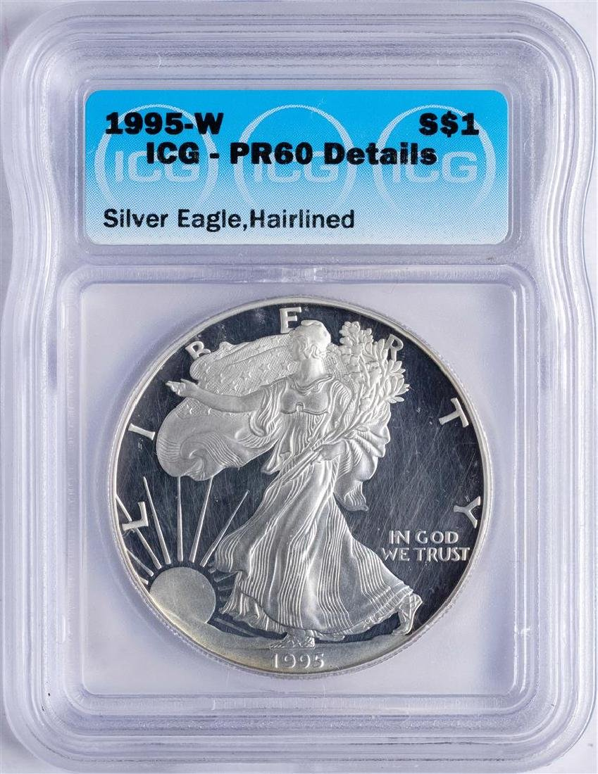 1995-W $1 American Silver Eagle Proof Coin ICG PR60