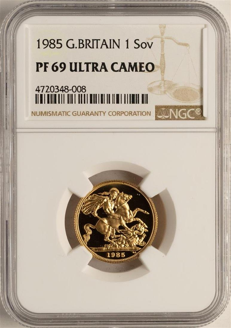 1985 Great Britain Sovereign Gold Coin NGC PF69 Ultra