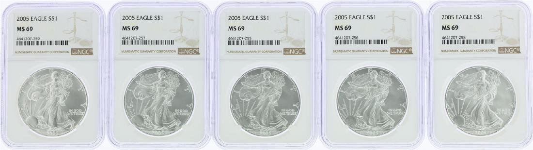Lot of (5) 2005 $1 American Silver Eagle Coins NGC MS69