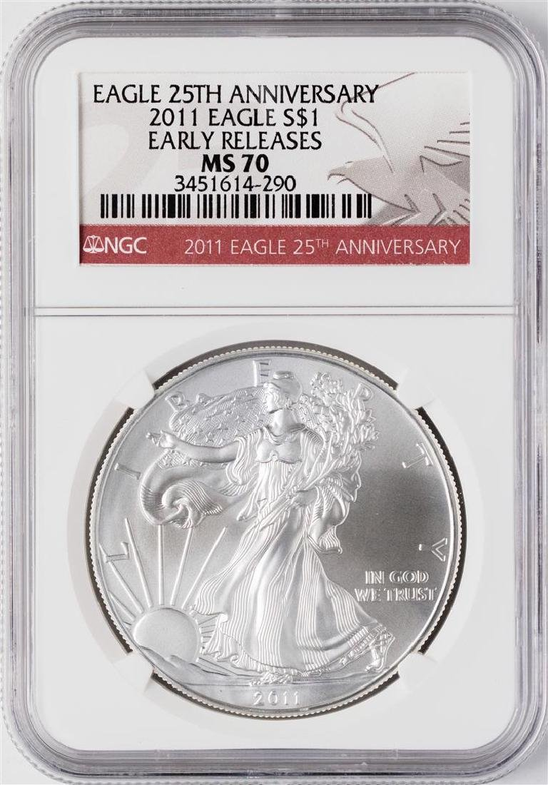 2011 $1 American Silver Eagle Coin NGC MS70 Early