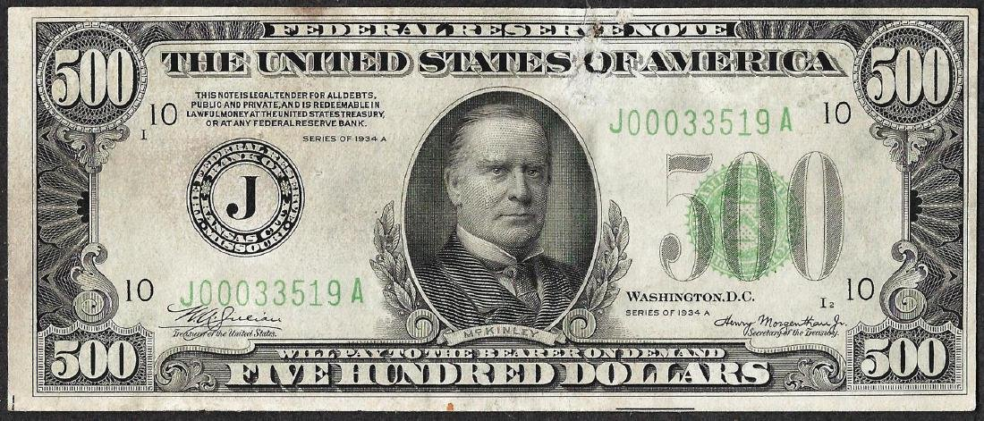 1934A $500 Federal Reserve Note Kansas City