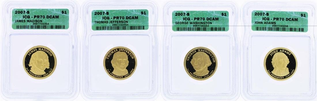 Lot of (4) 2007-S $1 Presidential Dollar Coins ICG