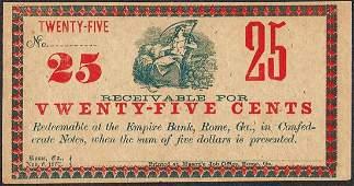 1862 TwentyFive Cents Empire Bank Rome GA Obsolete