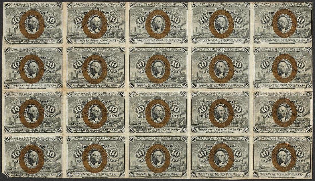 Sheet of (20) 1863 Second Issue Ten Cent Fractional