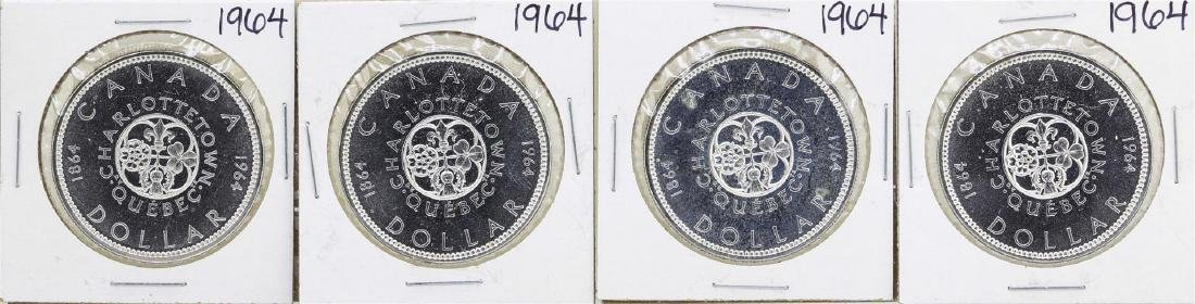 Lot of (4) 1964 $1 Canada Silver Dollar Coins