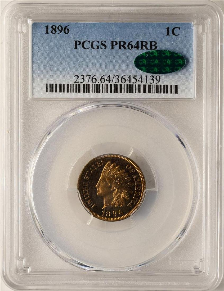 1896 Proof Indian Head Cent Coin PCGS PR64RB CAC