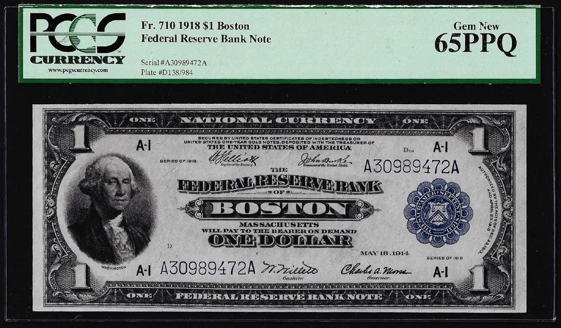 1918 $1 Federal Reserve Bank Note Boston Fr.710 PCGS