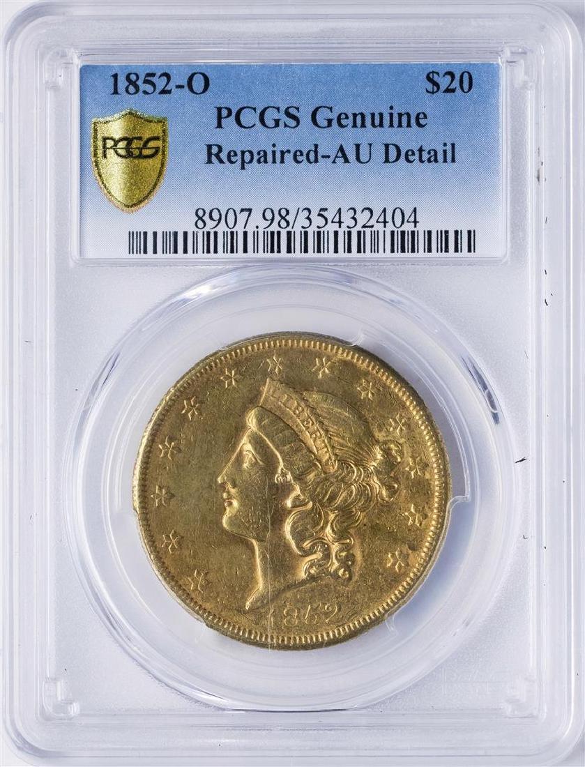 1852-O $20 Liberty Head Double Eagle Gold Coin PCGS AU