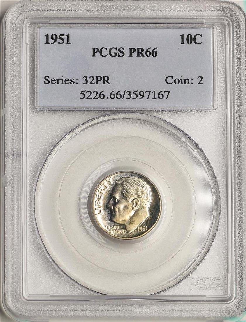 1951 Proof Roosevelt Dime Coin PCGS PR66