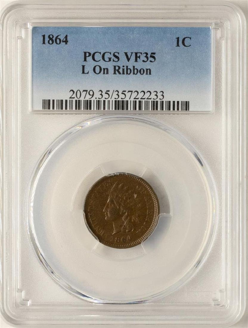 1864 Indian Head Cent Coin PCGS VF35 L on Ribbon
