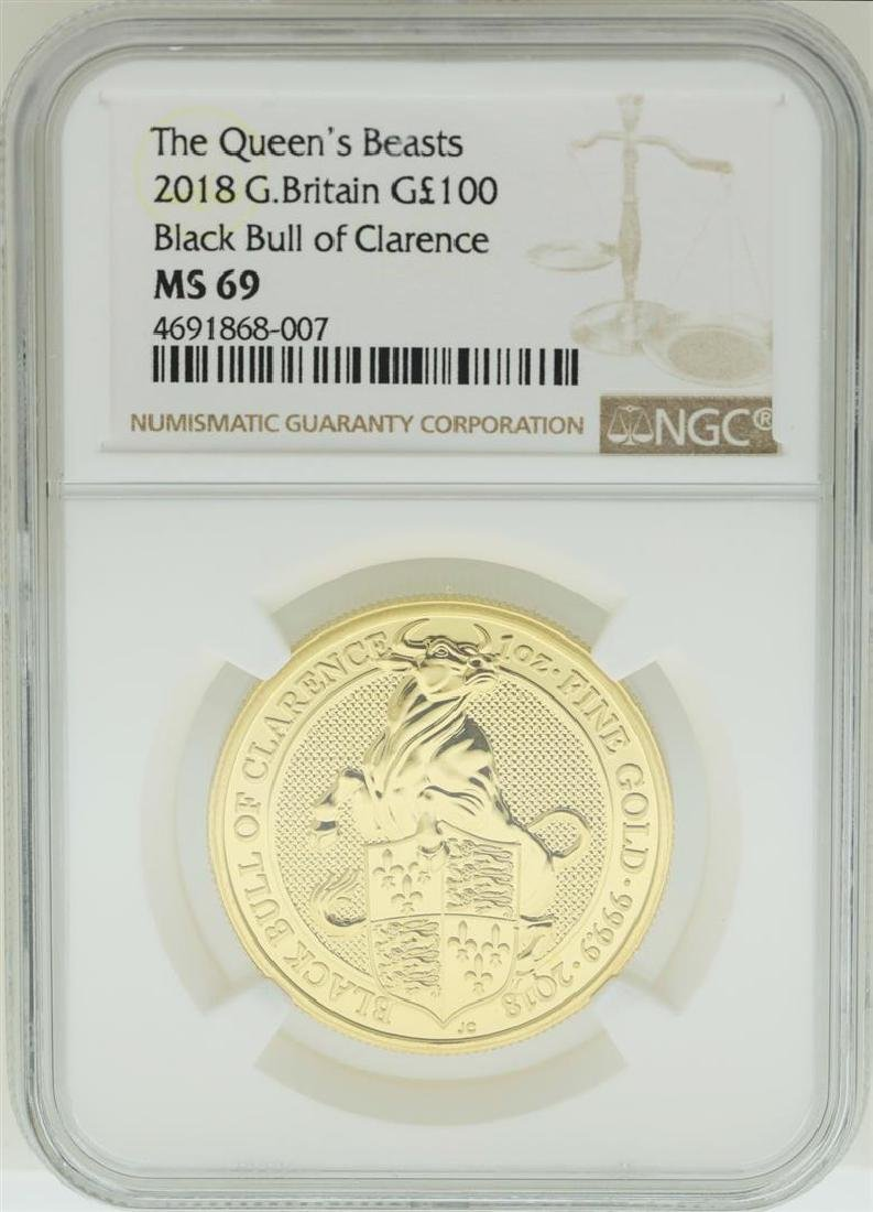 2018 Great Britain 100 Pounds The Queens Beasts Gold
