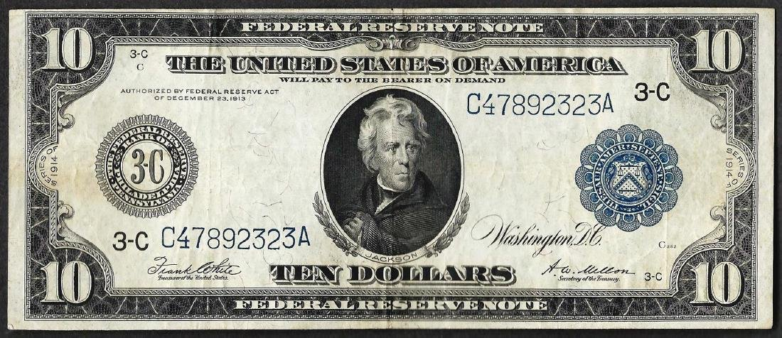 1914 $10 Federal Reserve Bank Note Philadelphia