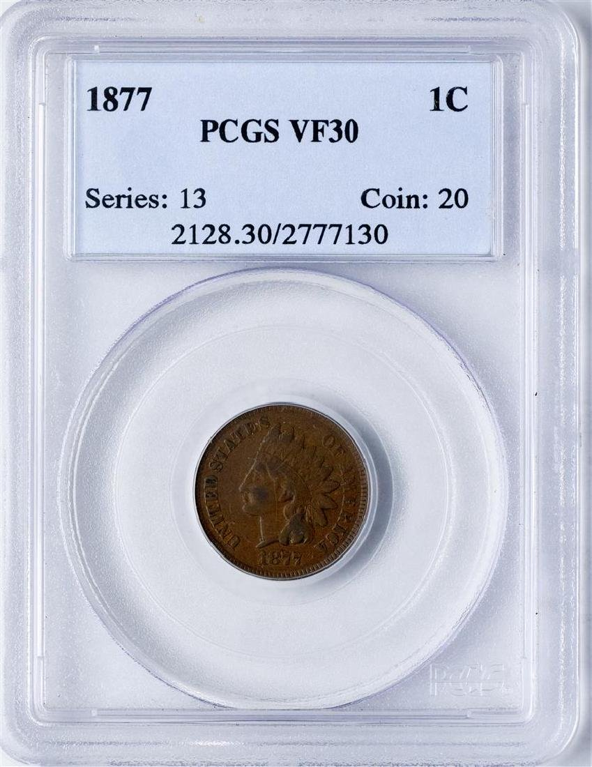 1877 Indian Head Cent Coin PCGS VF30