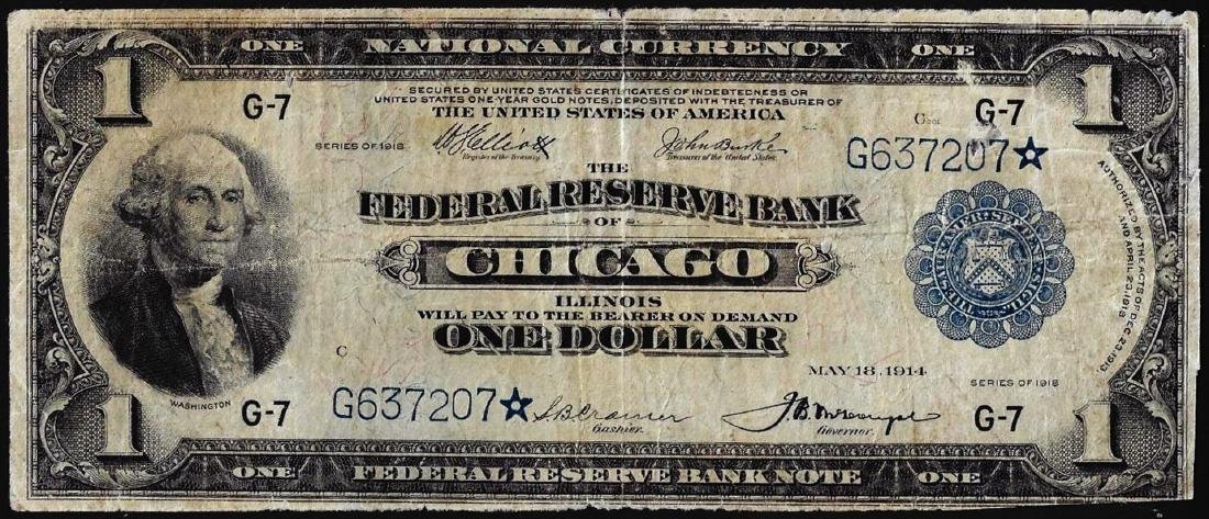 1918 $1 Federal Reserve Bank STAR Note Chicago
