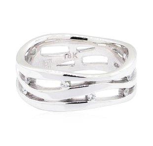 2bb15e8dd 18KT White Gold 0.15 ctw Diamond Wave Ring
