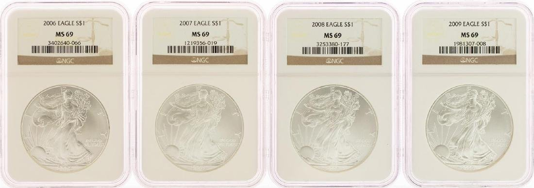 Lot of (4) 2006-2009 $1 American Silver Eagle Coins NGC