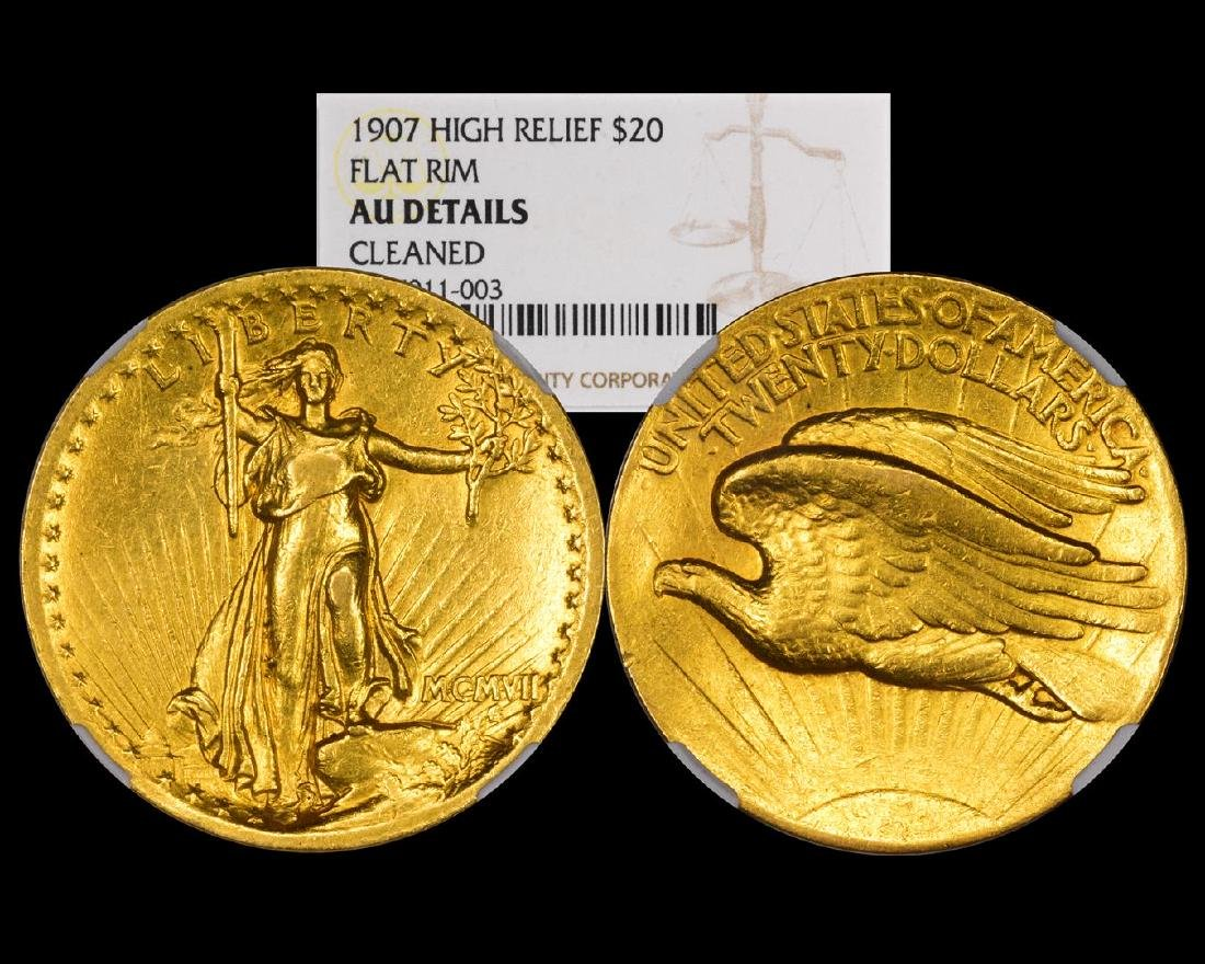 1907 $20 High Relief St. Gaudens Double Eagle Gold Coin