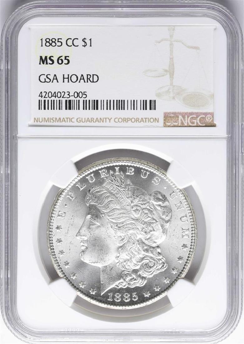 1885-CC $1 Morgan Silver Dollar Coin NGC MS65 GSA Hoard
