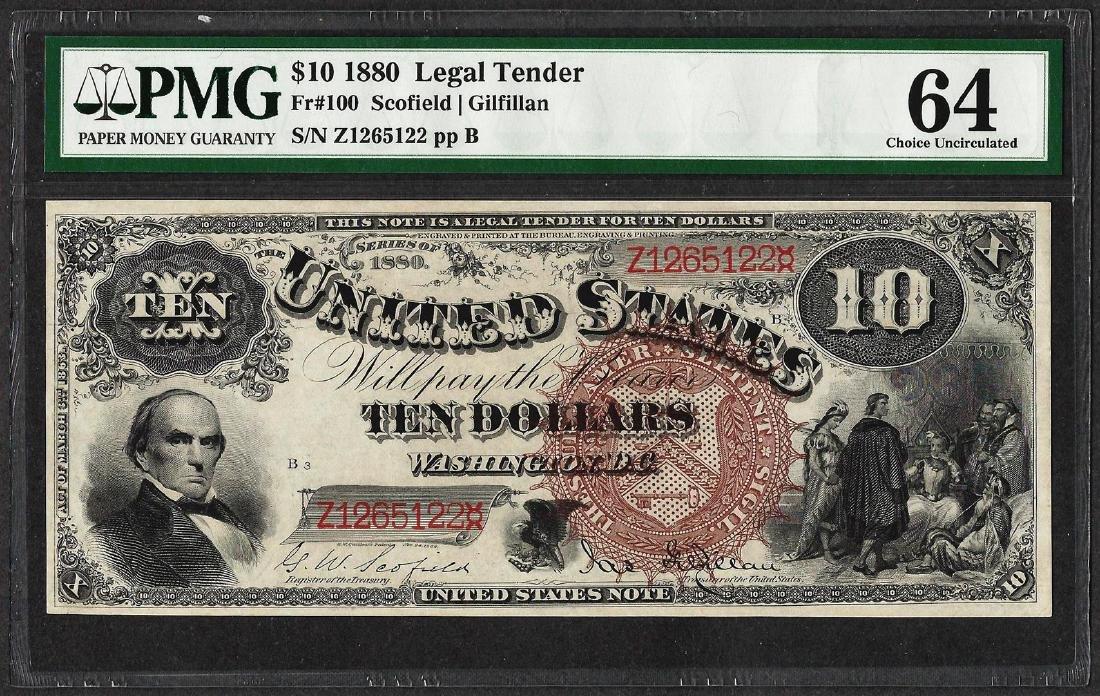 1880 $10 Jackass Legal Tender Note Fr.100 PMG Choice