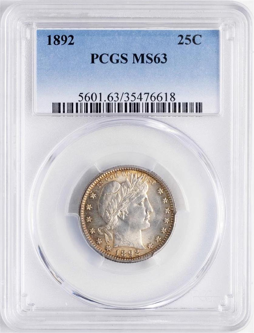 1892 Barber Quarter Coin PCGS MS63 Nice Toning