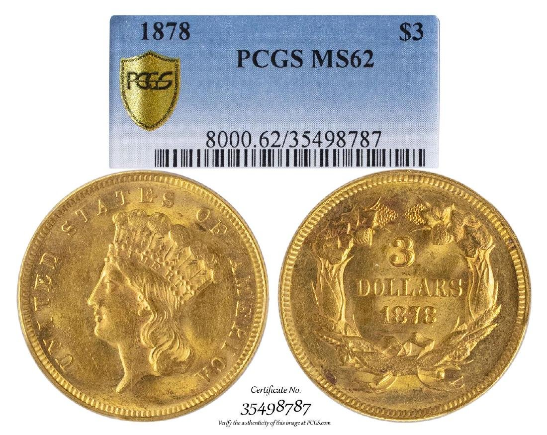 1878 $3 Indian Princess Head Gold Coin PCGS MS62