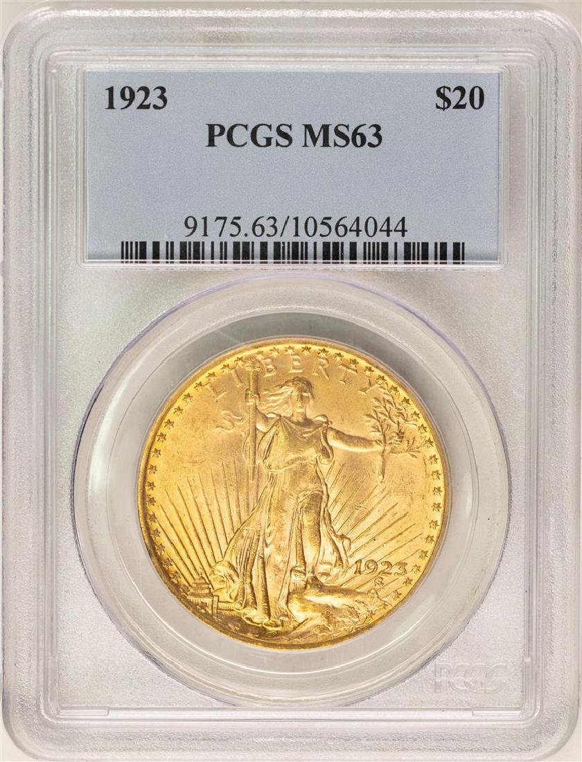 1923 $20 St. Gaudens Double Eagle Gold Coin PCGS MS63