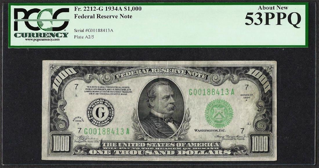1934A $1,000 Federal Reserve Note Chicago Fr.2212-G