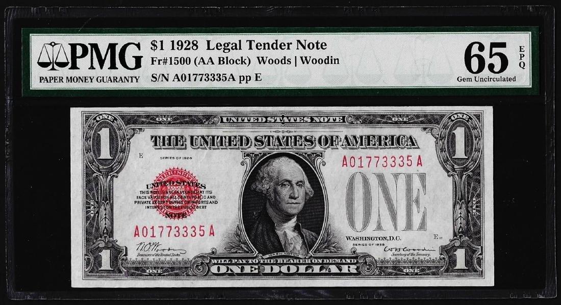 1928 $1 Legal Tender Note Fr.1500 PMG Gem Uncirculated