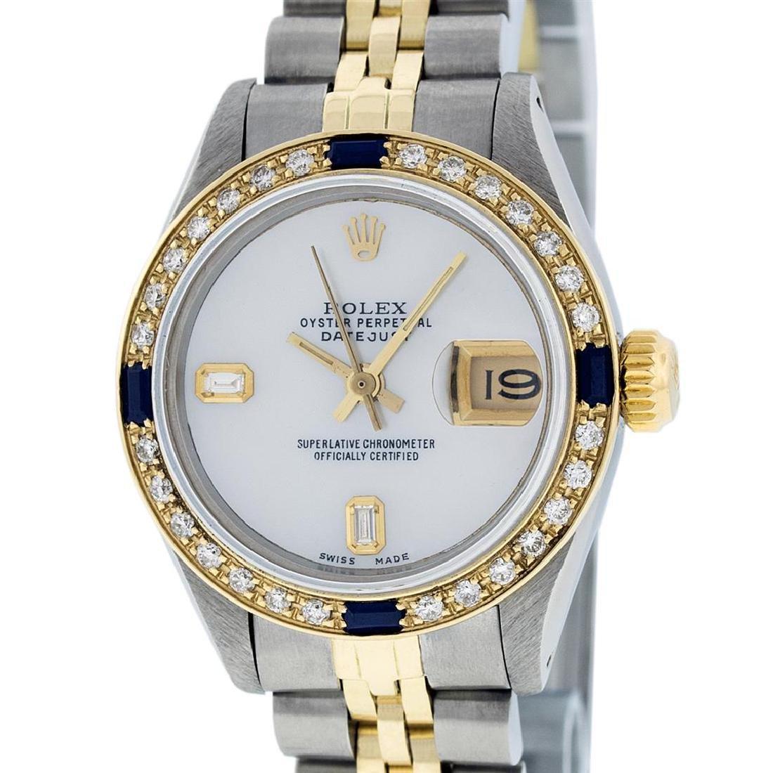 Rolex Ladies Two Tone 14K MOP Diamond & Sapphire
