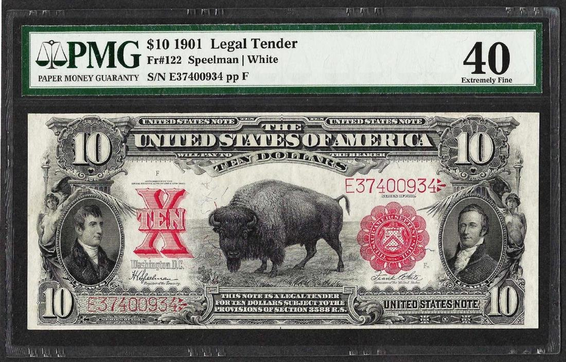 1901 $10 Bison Legal Tender Note Fr.122 PMG Extremely