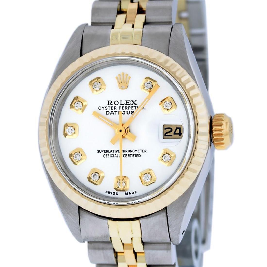 Rolex Ladies Two Tone 14K White Diamond 26MM Datejust
