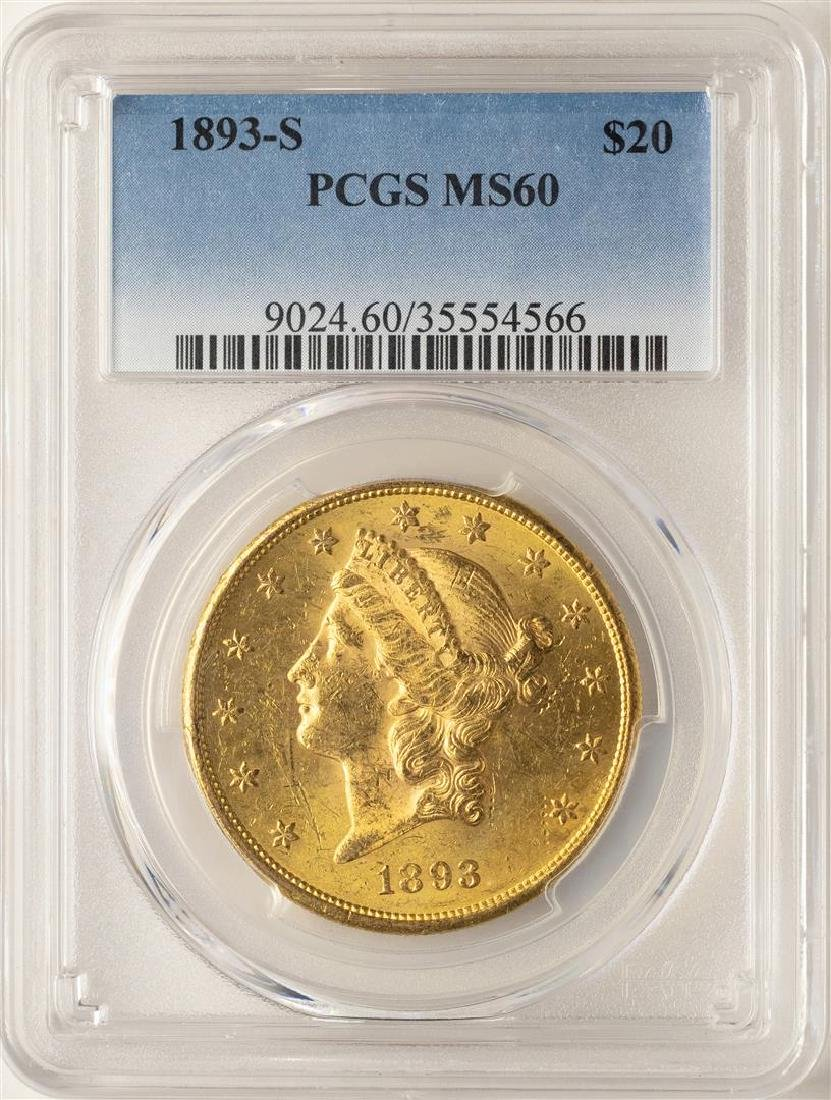 1893-S $20 Liberty Head Double Eagle Gold Coin PCGS