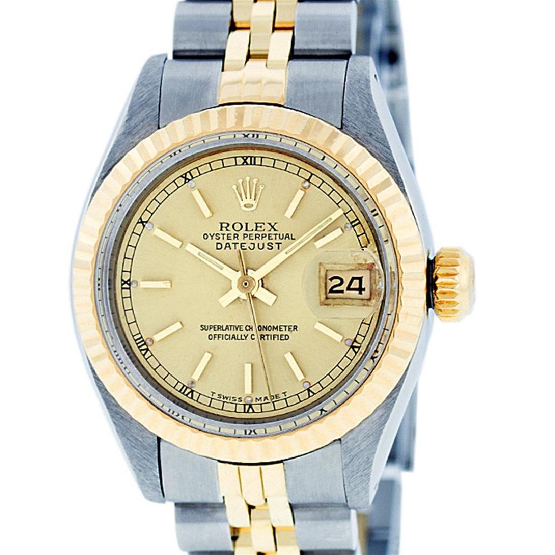 Rolex Ladies Two Tone 14K Yellow Gold & Stainless Steel