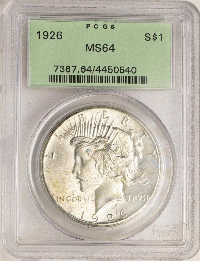 1926 $1 Peace Silver Dollar Coin PCGS MS64 Old Green