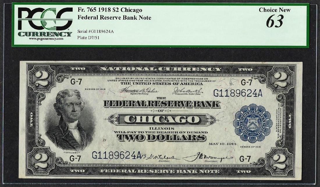 1918 $2 Battleship Federal Reserve Note Chicago Fr.765