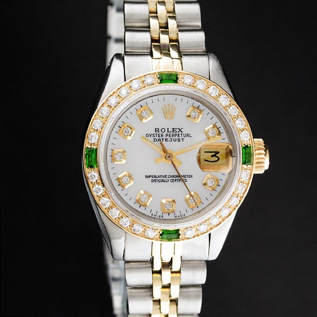 Rolex Ladies Two Tone MOP Diamond & Emerald Datejust
