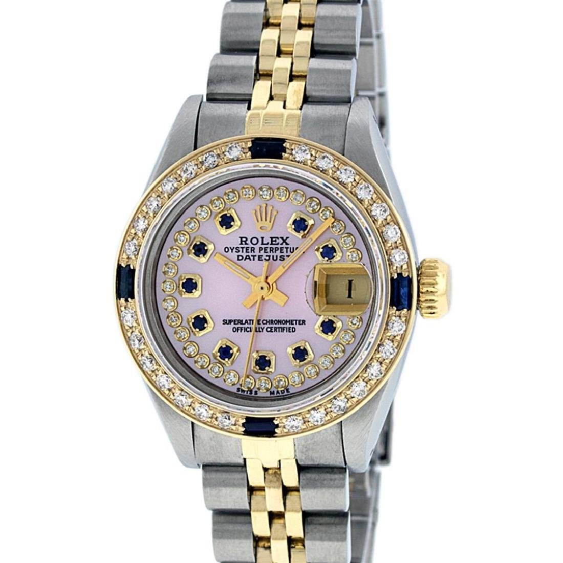 Rolex Ladies Two Tone 14K Pink MOP Diamond & Sapphire