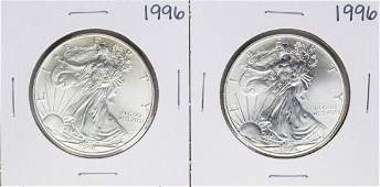 Lot of 2 1996 1 American Silver Eagle Coins