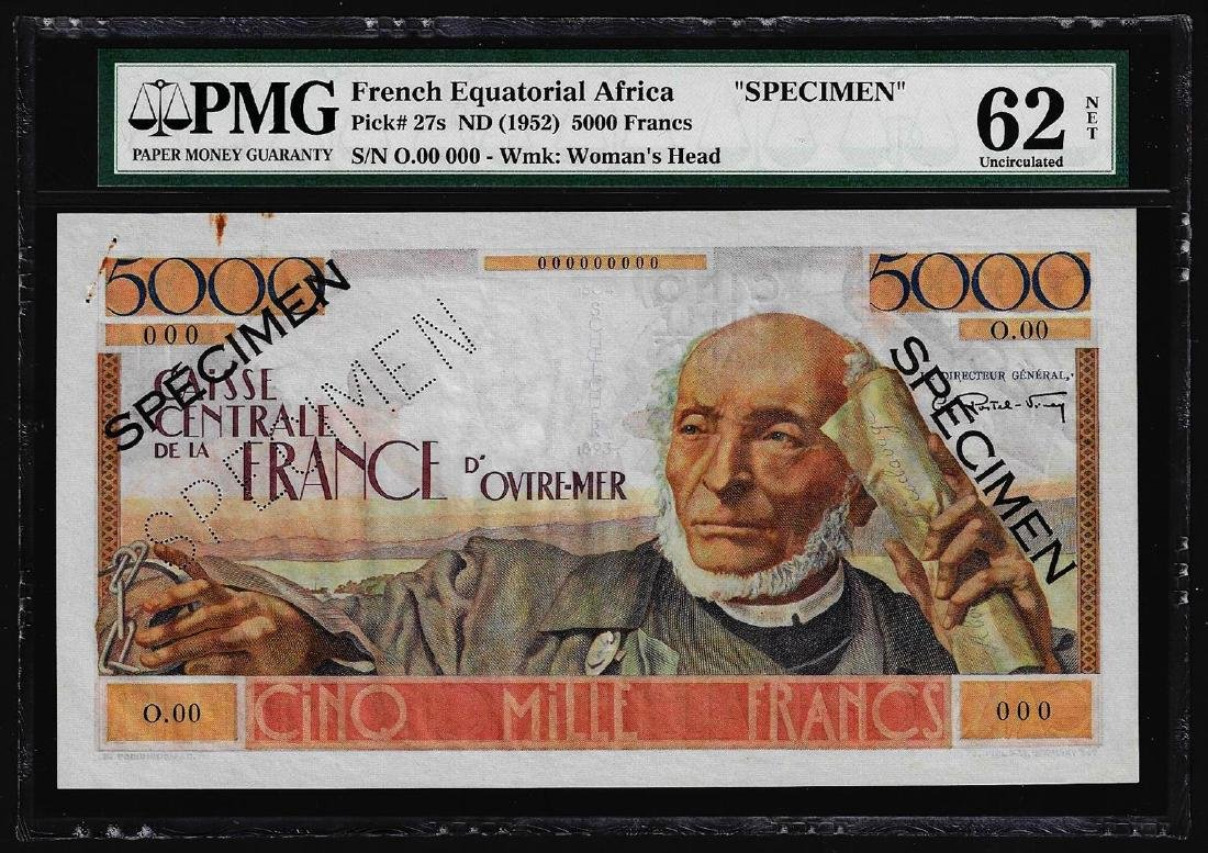1952 French Equatorial Africa 5000 Francs Specimen Note