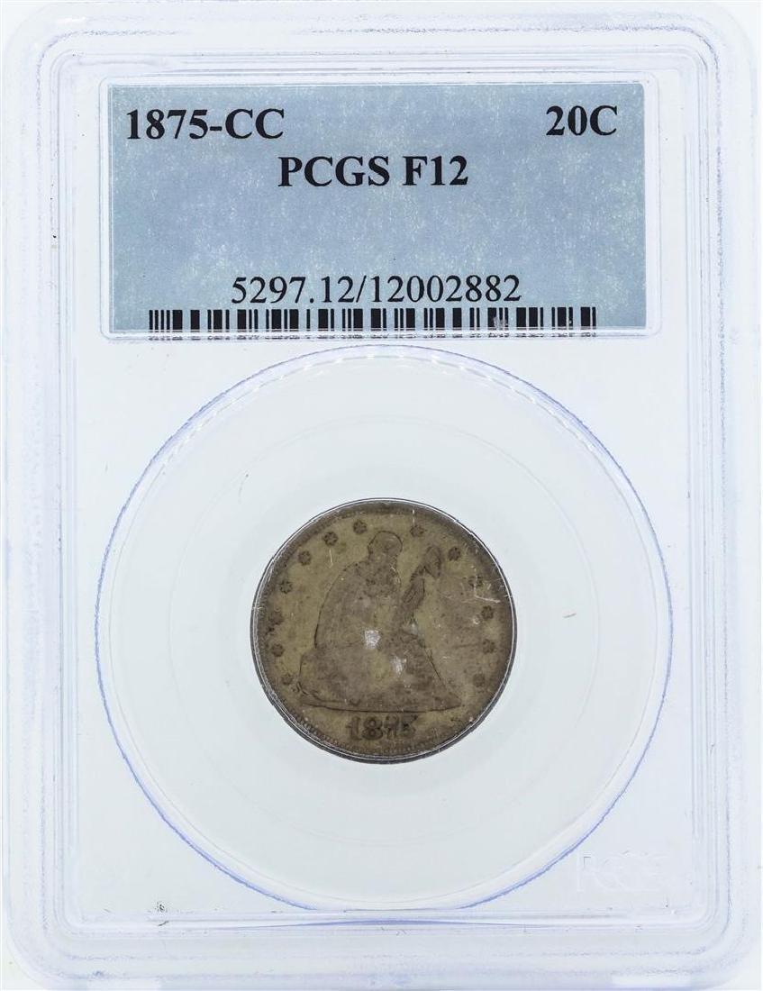 1875-CC Seated Liberty Twenty Cent Piece Coin PCGS F12