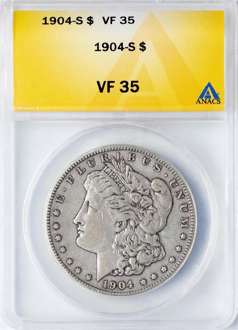 1904-S $1 Morgan Silver Dollar Coin ANACS VF35