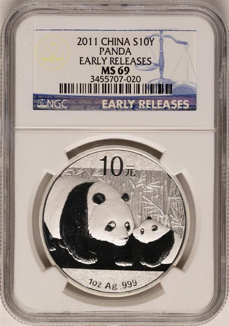 2011 China 10 Yuan Silver Panda Coin NGC MS69 Early