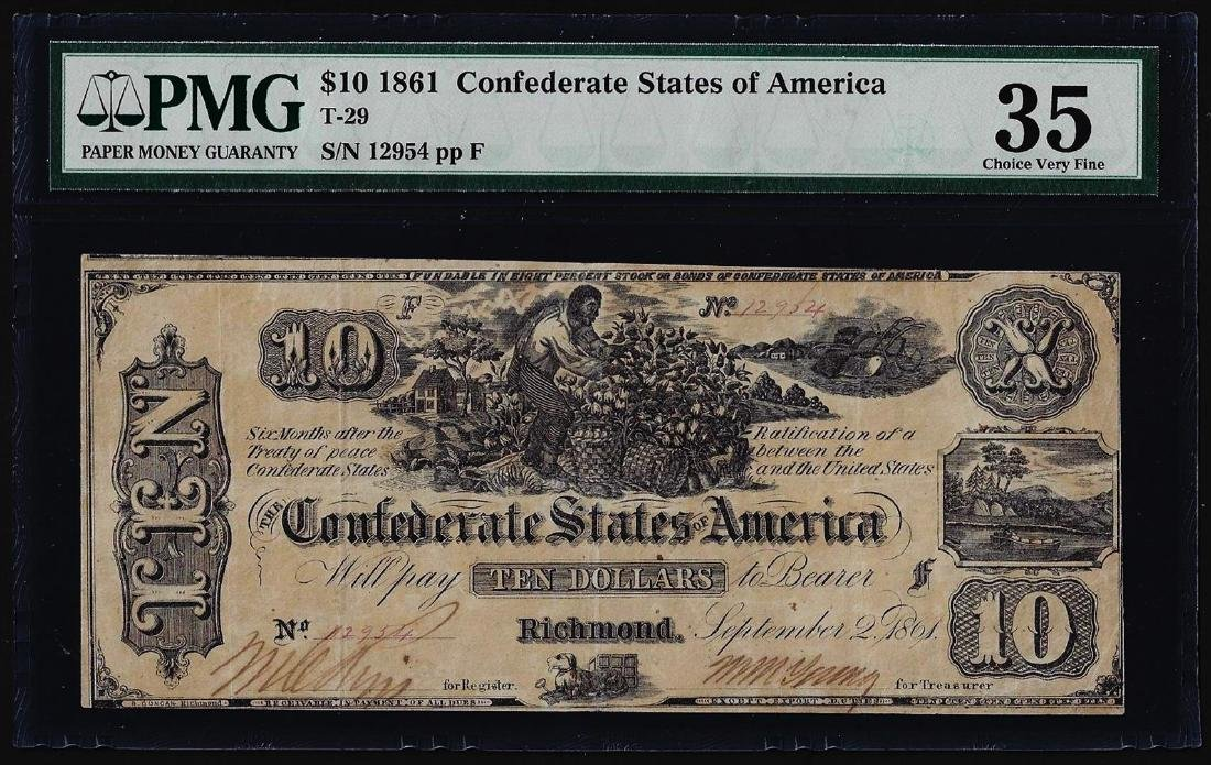 1861 $10 Confederate States of America Note T-29 PMG