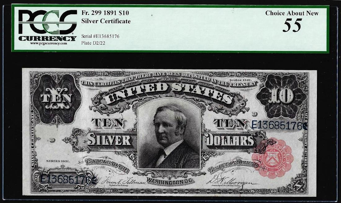 1891 $10 Tombstone Silver Certificate Note Fr.299 PCGS