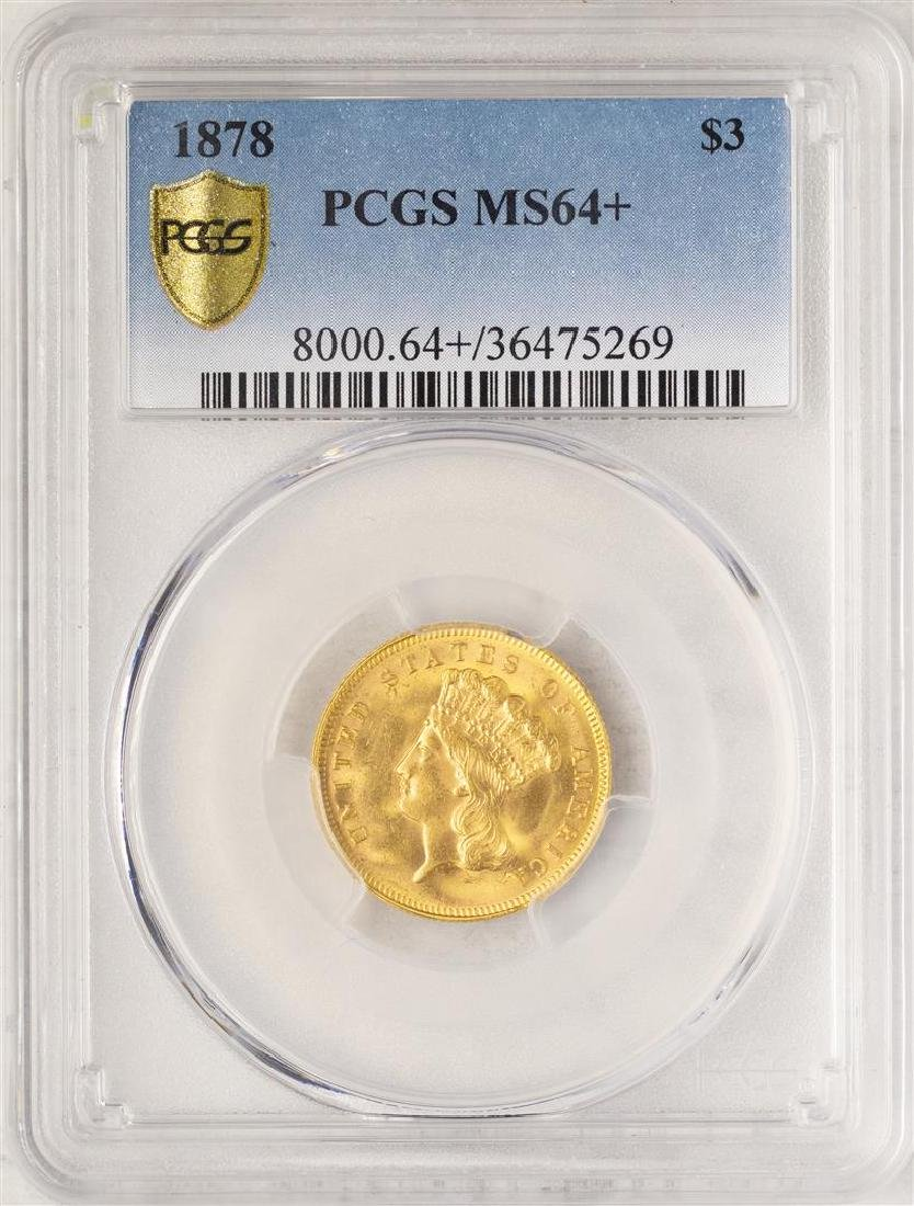 1878 $3 Indian Princess Head Gold Coin PCGS MS64+