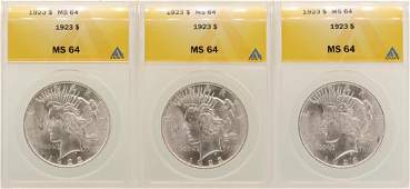 Lot of 3 1923 1 Peace Silver Dollar Coins ANACS MS64