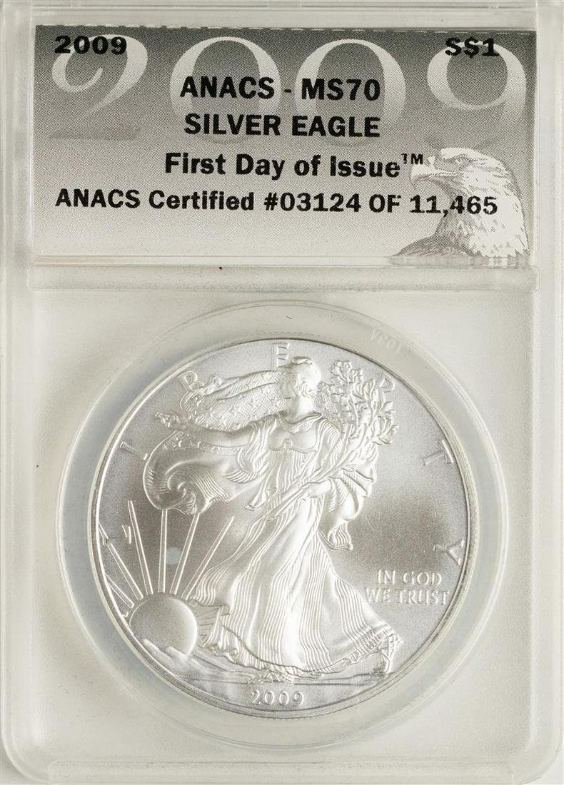 1-2013-S American $1 Silver Eagle ANACS MS70 First Day Of Issue